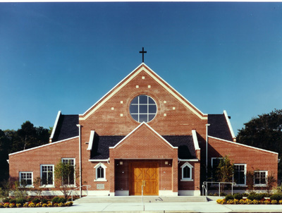 Our lady of the angels roman catholic church the design for Church exterior design